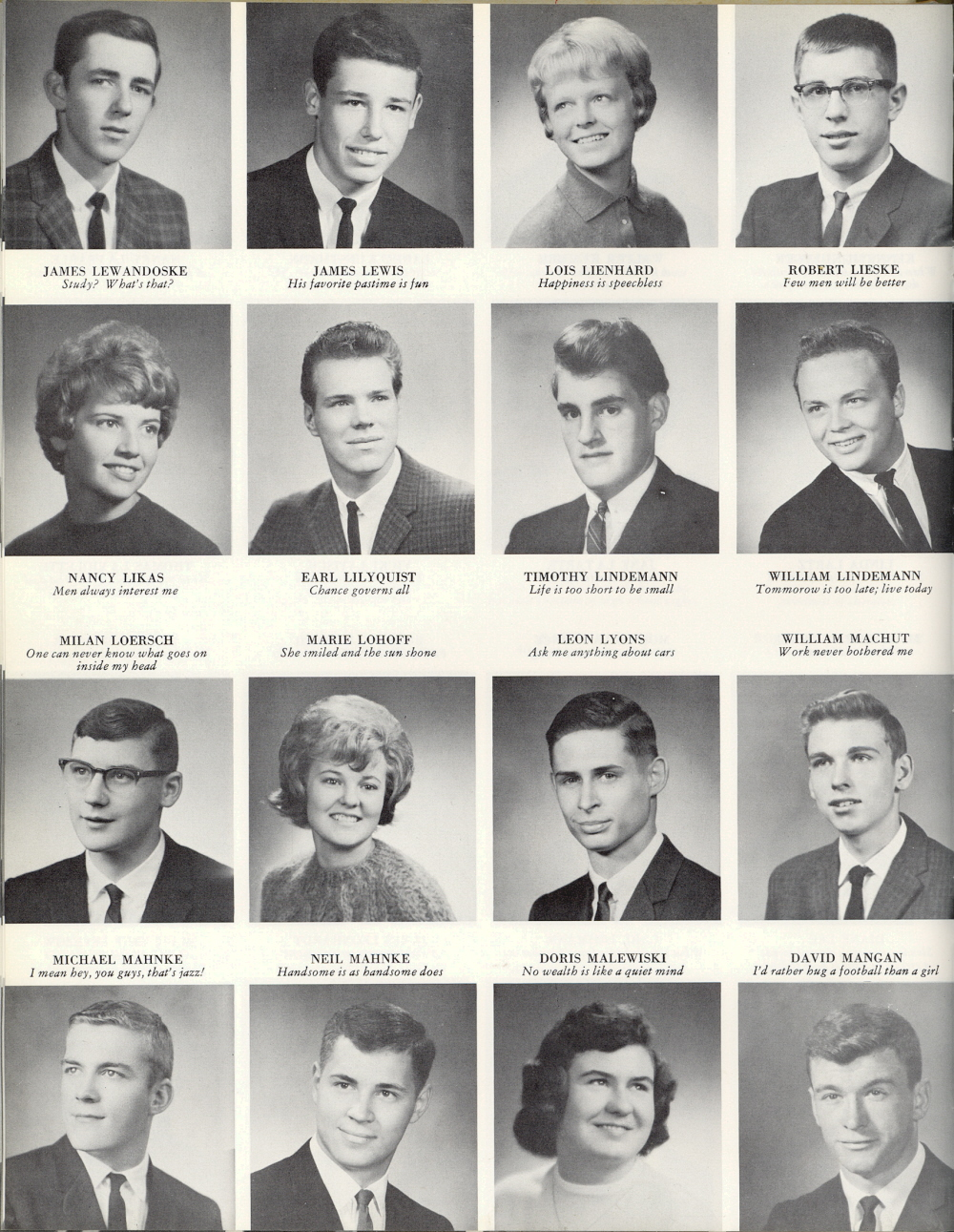 Quoted from: 1964 Sheboygan South High School Yearbook